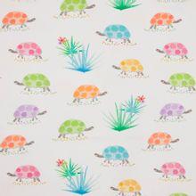 Witte polyester / katoen mengeling met schildpadden en planten