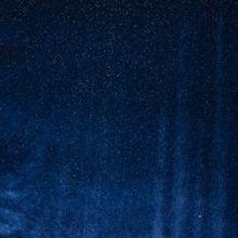 Rekbare blauwe polyester nicky velours met zilveren glitters van 'Fibre Mood'