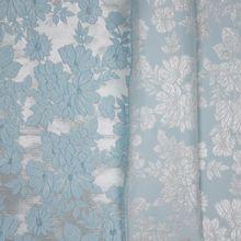 Jacquard double face ijsblauw bloemen motief
