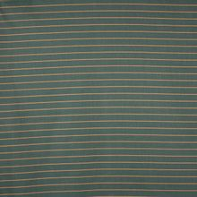 Groene polyester / viscose / polyamide mengeling met oranje streepjes