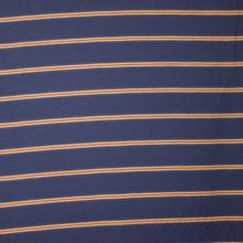 Donkerblauwe viscose - polyester mengeling met lichtbruine strepen