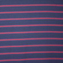 Donkerblauwe viscose - polyester mengeling met rode strepen