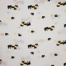 Polyester wit zwart polkadot olifanten
