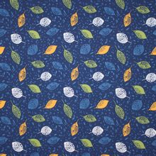 Blauwe modal french terry met blaadjes motief