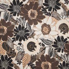 Beige viscose linnen met bloemen motief