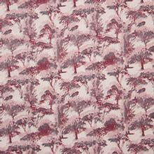 Katoentje met roze, grijs en bordeaux bomen motief