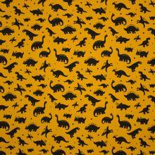 Okerkleurige tricot met zwarte dino's