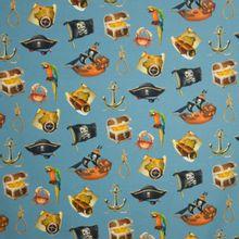 Tricot jeansblauw piraten motief