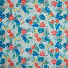 Katoen lichtblauw tropisch motief