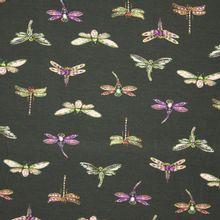 Donkergrijze viscose tricot met libellen