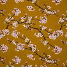 Mosterdkleurige modal tricot met bloesems