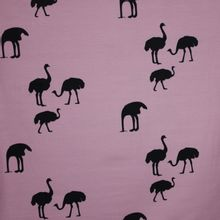 French Terry lila roze struisvogelmotief