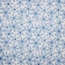 Witte blauwe katoen met bloemenmotief