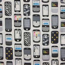 Witte katoen met smartphone motief