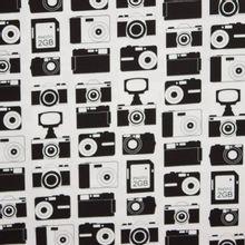 Witte katoen met camera motief
