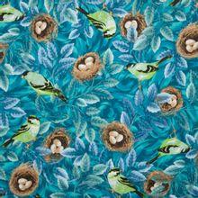 Blauwe katoen met bos tafereel