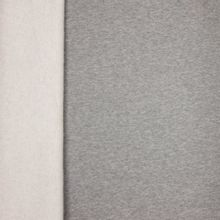 Grijze gemeleerde sweaterstof met gewatteerde achterkant