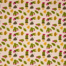 Zalmroze katoen tricot met cactus motief