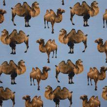 Blauwe katoen tricot met kameel motief