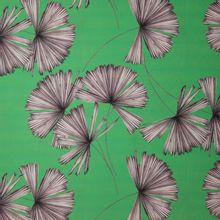 Groene polyester met plantmotief