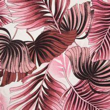 Witte tricot met tropische balderen in bruine en roze tinten van Stitched By You