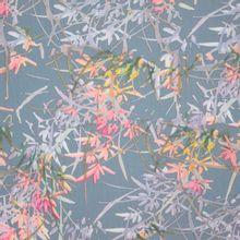Grijs-blauwe rekbare polyester met veelkleurig abstract plantenmotief van Stitched By You