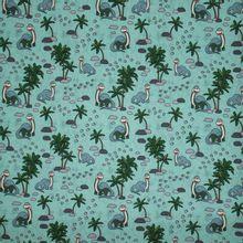 Munt tricot met dino's en palmbomen