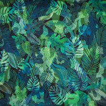 Zwarte gesatineerde katoen met groene en blauwe bladeren