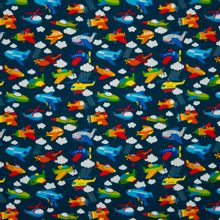 Blauwe katoentricot met vliegtuigen