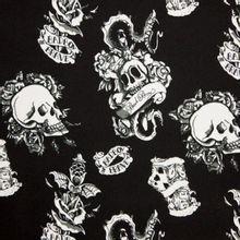 """Zwarte polyester gothic doodskop """"Bad Boy"""""""