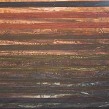 Landschap quilt lagen in aardetinten