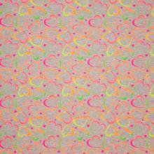 Grijze gemeleerde tricot met neon hartjes