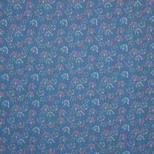 Blauwe tricot met bloemetjes