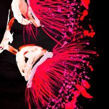 Zwarte katoen elasthane met abstract motief