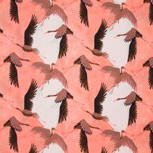 Zalmroze viscose met vogels