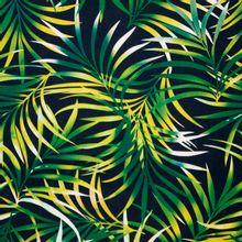 Zwarte viscose linnen mengeling met tropische bladeren