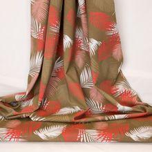 Bruine/kaki tricot met varens tropisch