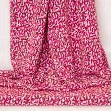 Witte polyester met roos motief