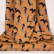 bruine / oranje viscose met vogels