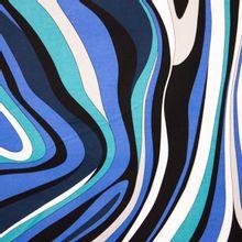 Blauw wit gelijnde katoen elasthane