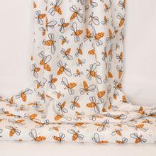 Witte katoen met artistieke bijen