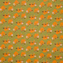 Kaki groene katoen met oranje luiaards