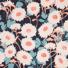 Blauwe structuurstof/ jacquard met witte bloemen