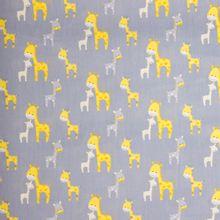 Grijze katoen met gele giraffen