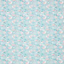 Blauwe tricot met vogeltjes en bloemen