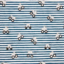 Witte tricot met blauwe strepen en monstertrucks
