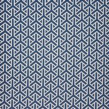 Blauwe polyester met wit motief