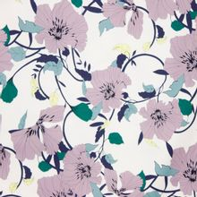 Italiaanse witte katoen elasthane met paarse bloemen