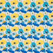 Witte katoen elasthane met blauwe en gele bloemen