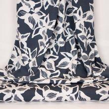 Grijze modal tricot met witte bloemen